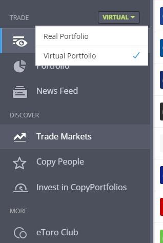 Virtual portfolio eToro